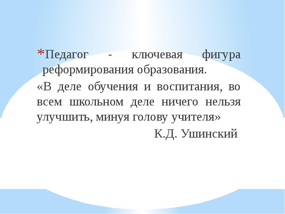 Педагог - ключевая фигура реформирования образования. «В деле обучения и восп...