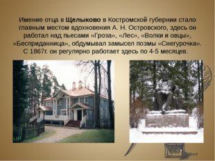 Имение отца в Щелыково в Костромской губернии стало главным местом вдохновен