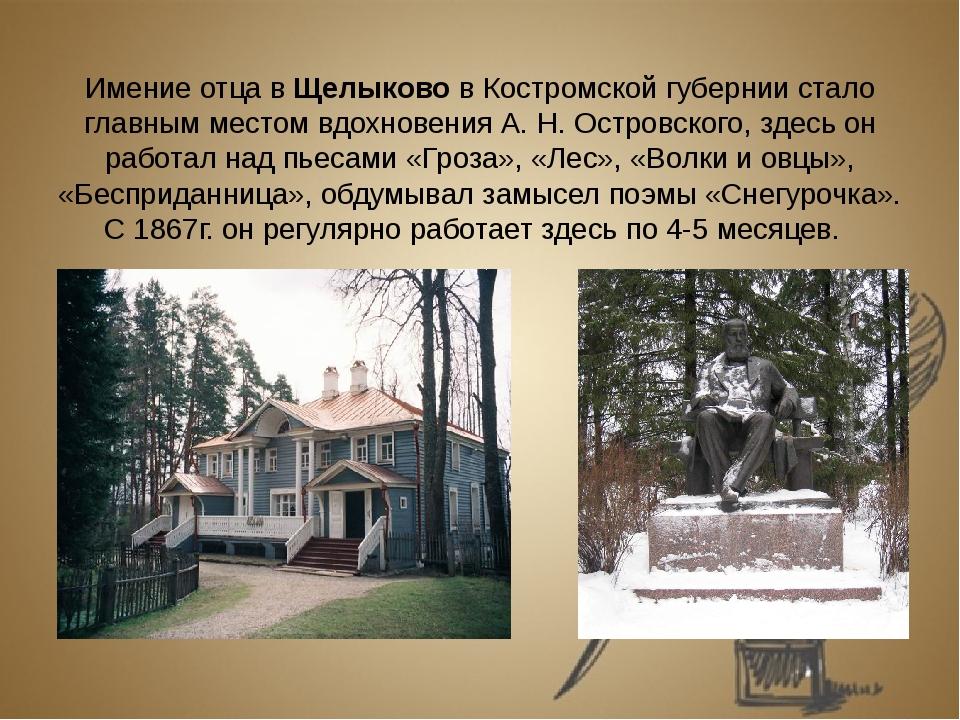 Имение отца в Щелыково в Костромской губернии стало главным местом вдохновен...
