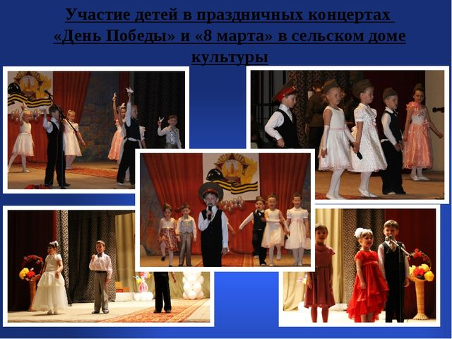 Участие детей в праздничных концертах «День Победы» и «8 марта» в сельском д...