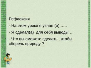 Рефлексия - На этом уроке я узнал (а) ….. - Я сделал(а) для себя выводы … - Ч