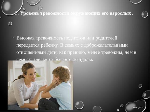 5. Уровень тревожности окружающих его взрослых.  Высокая тревожность педагог...