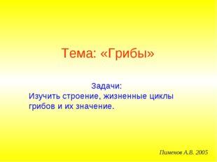 Тема: «Грибы» Пименов А.В. 2005 Задачи: Изучить строение, жизненные циклы гри