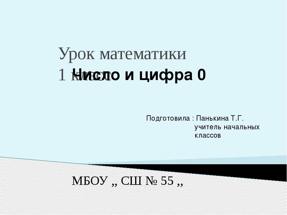 Урок математики 1 класс Число и цифра 0 Подготовила : Панькина Т.Г. учитель...