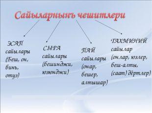 ЭСАП сайылары (Беш, он, бинъ, отуз) СЫРА сайылары (бешинджи, юзюнджи) ПАЙ са