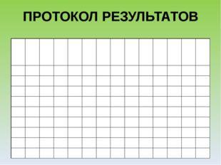 ПРОТОКОЛ РЕЗУЛЬТАТОВ № Ф.И 1 2 3 4 5 6 7 8 9 10 Сумма Примечание