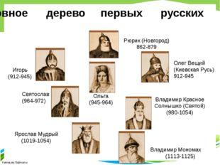 Родословное дерево первых русских князей Владимир Мономах (1113-1125) Ярослав