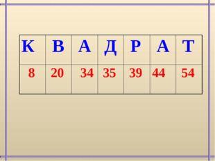 К В А Д Р А Т 8 20 34 35 3944 54
