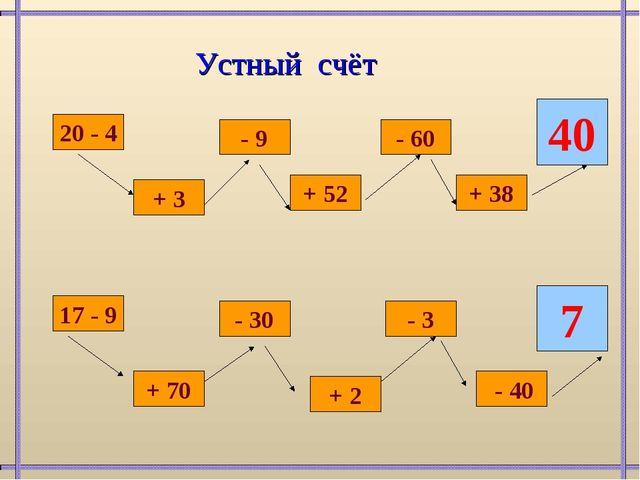 20 - 4 + 3 - 9 + 52 - 60 + 38 40 17 - 9 + 70 - 30 + 2 - 3 - 40 7 Устный счёт