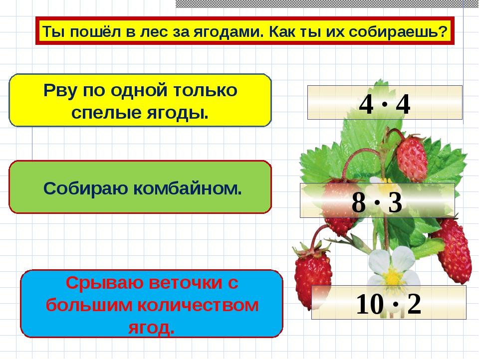 Ты пошёл в лес за ягодами. Как ты их собираешь? Рву по одной только спелые яг...