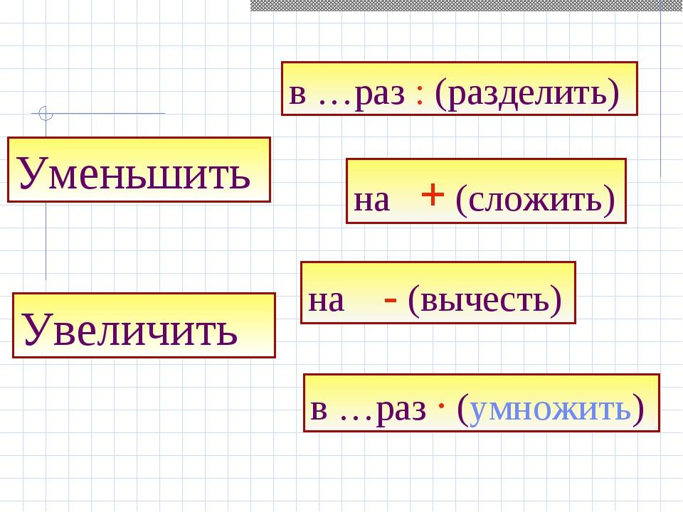 Увеличить на + (сложить) на - (вычесть) Уменьшить в …раз : (разделить) в …раз...