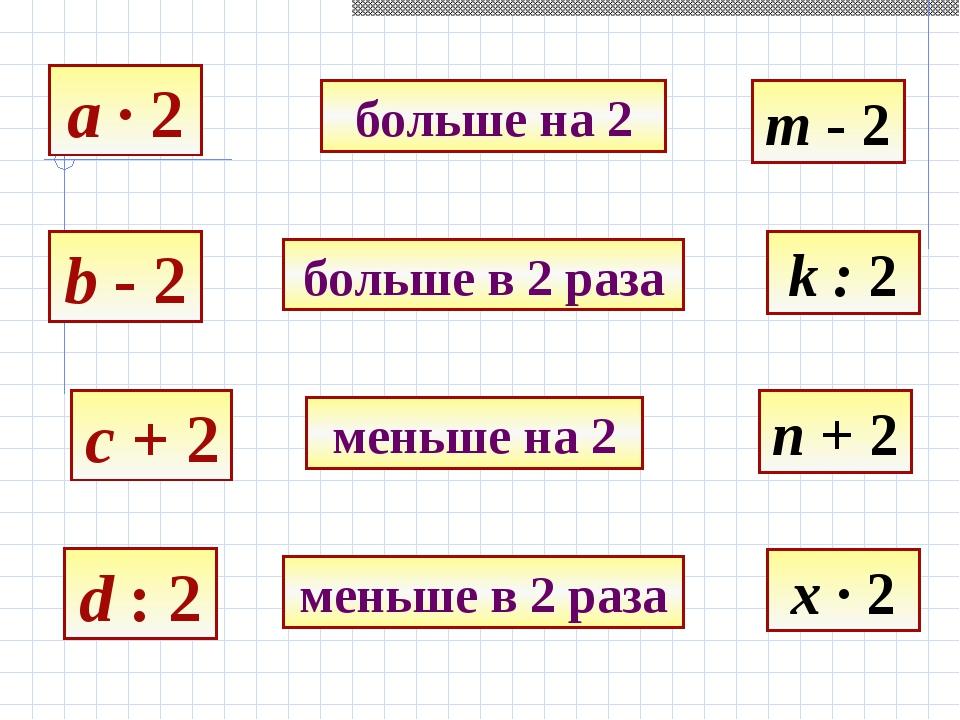 a · 2 b - 2 c + 2 d : 2 больше на 2 больше в 2 раза меньше на 2 меньше в 2 ра...