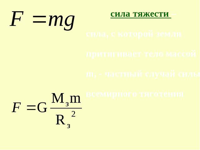сила тяжести – сила, с которой земля притягивает тело массой m, - частный слу...