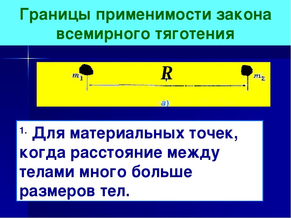 Границы применимости закона всемирного тяготения 1. Для материальных точек, к...