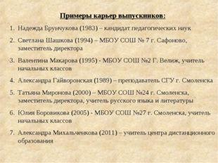 Примеры карьер выпускников: Надежда Брунчукова (1983) – кандидат педагогическ