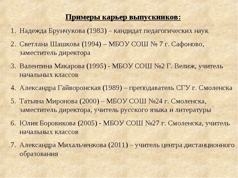 Примеры карьер выпускников: Надежда Брунчукова (1983) – кандидат педагогическ...