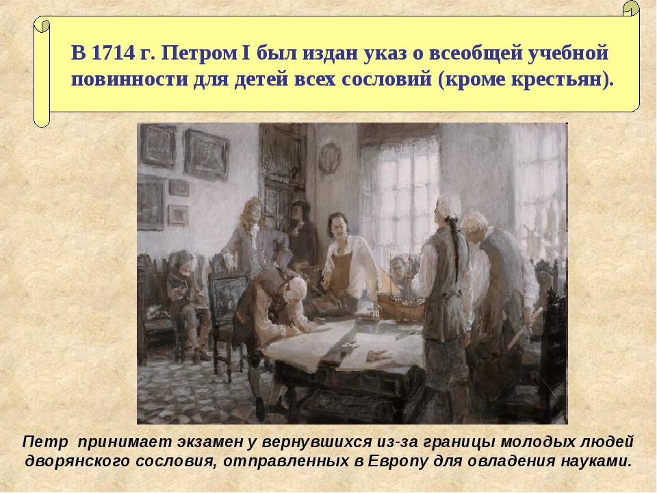 В 1714 г. Петром I был издан указ о всеобщей учебной повинности для детей все...