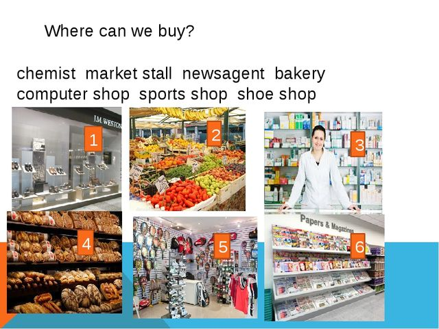 Where can we buy? chemist market stall newsagent bakery computer shop sports...