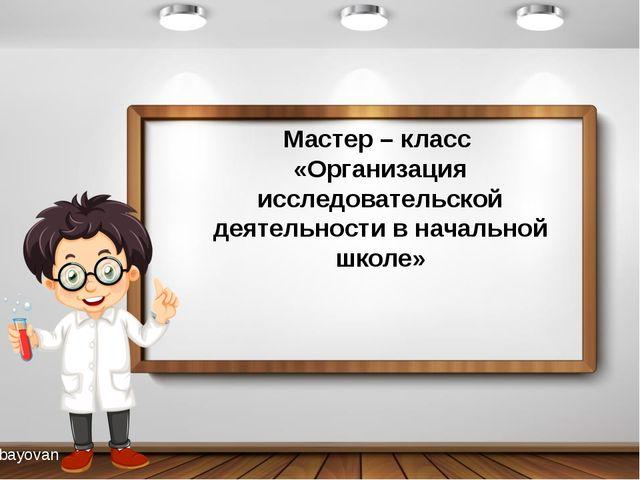 Мастер – класс «Организация исследовательской деятельности в начальной школе...