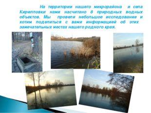 На территории нашего микрорайона и села Кирилловки нами насчитано 8 природны
