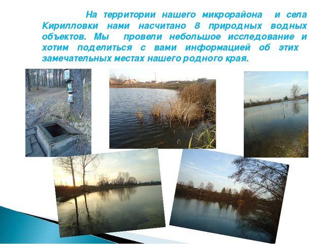 На территории нашего микрорайона и села Кирилловки нами насчитано 8 природны...
