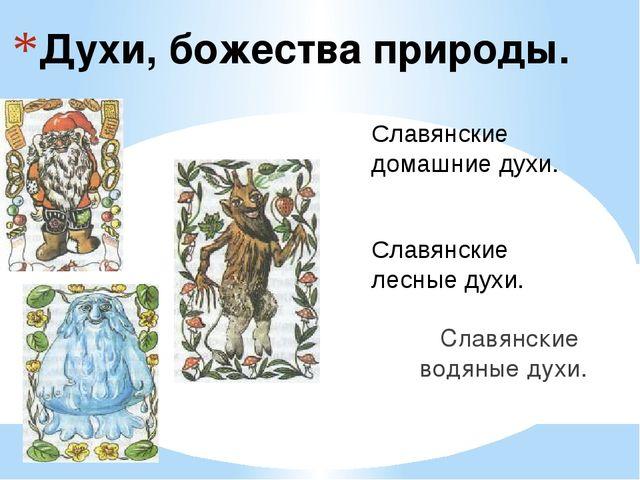 Духи, божества природы. Славянские водяные духи. Славянские домашние духи. Сл...