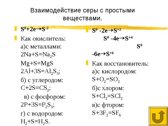 Взаимодействие серы с простыми веществами. S0+2eS-2 Как окислитель: а)с мета...