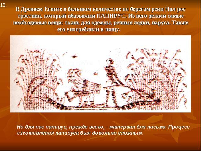 В Древнем Египте в большом количестве по берегам реки Нил рос тростник, котор...