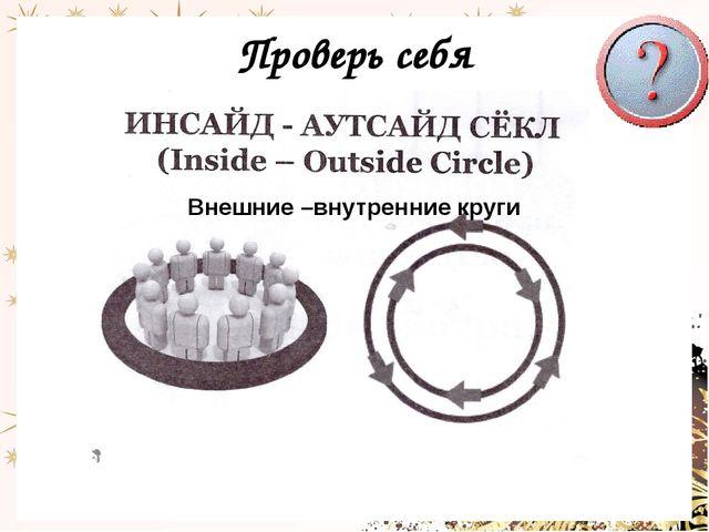 Проверь себя Внешние –внутренние круги