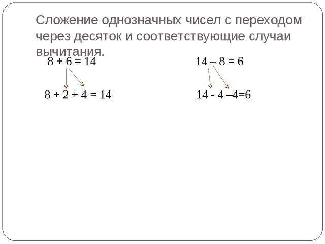 Сложение однозначных чисел с переходом через десяток и соответствующие случаи...