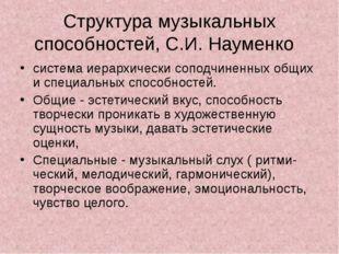Структура музыкальных способностей, С.И. Науменко система иерархически соподч