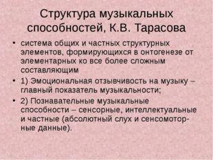 Структура музыкальных способностей, К.В. Тарасова система общих и частных стр