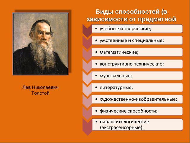 Виды способностей (в зависимости от предметной области): Лев Николаевич Толстой