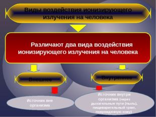 Виды воздействия ионизирующего излучения на человека Различают два вида возде