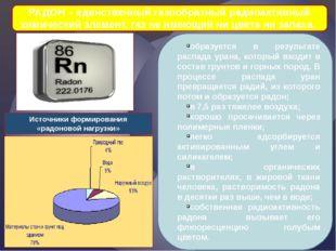 РАДОН – единственный газообразный радиоактивный химический элемент, газ не им