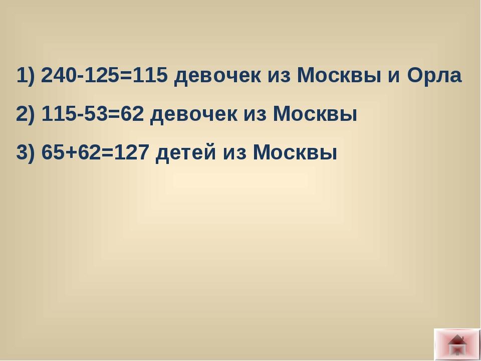 1) 240-125=115 девочек из Москвы и Орла 2) 115-53=62 девочек из Москвы 3) 65+...