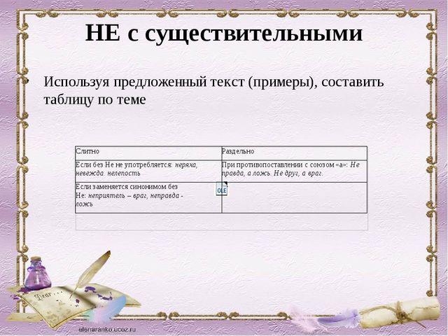 НЕ с существительными Используя предложенный текст (примеры), составить табли...