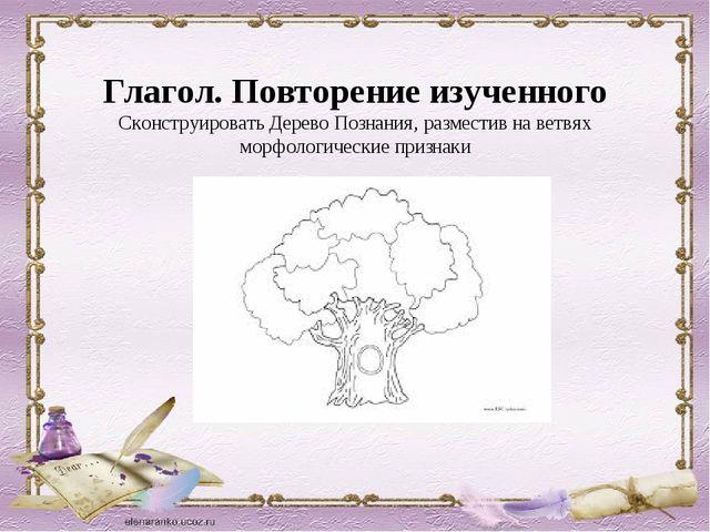 Глагол. Повторение изученного Сконструировать Дерево Познания, разместив на...