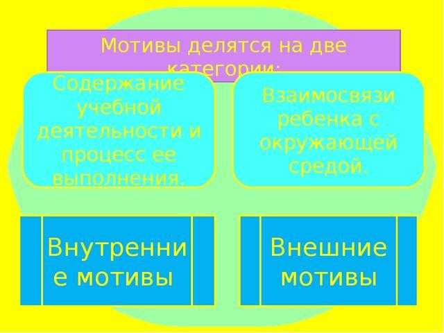 Мотивы делятся на две категории: Содержание учебной деятельности и процесс ее...