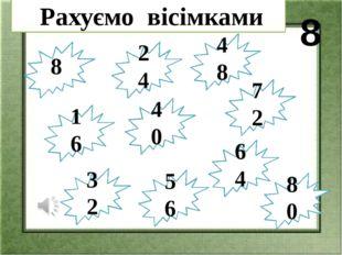 Закресли добутки,які не є результатом множення на 8 8·2