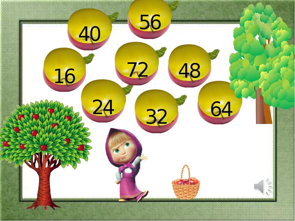 8 16 8 24 32 48 56 40 64 80 72 Рахуємо вісімками