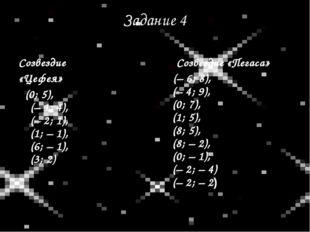 Задание 4 Созвездие «Цефея» (0; 5), (–1; 4), (–2; 1), (1; –1), (6; –1), (