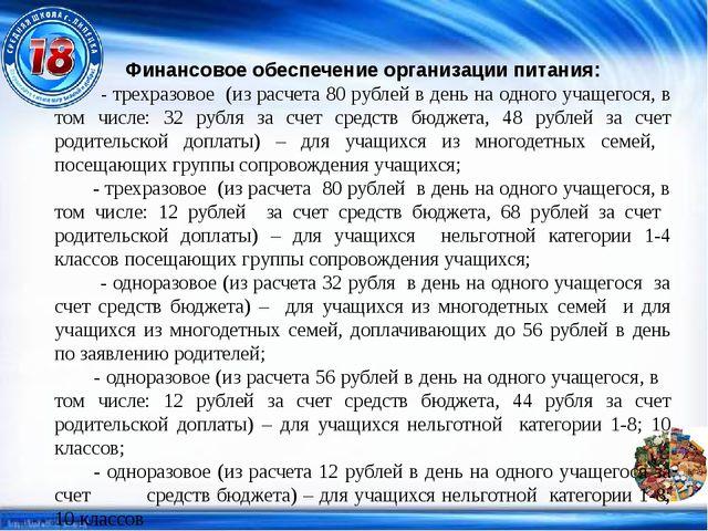 Финансовое обеспечение организации питания: - трехразовое (из расчета 80 рубл...