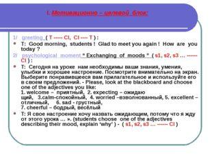 I. Мотивационно – целевой блок: 1/ greeting ( T ----- Cl, Cl ---- T ) : T: Go