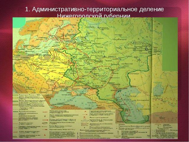 1. Административно-территориальное деление Нижегородской губернии.