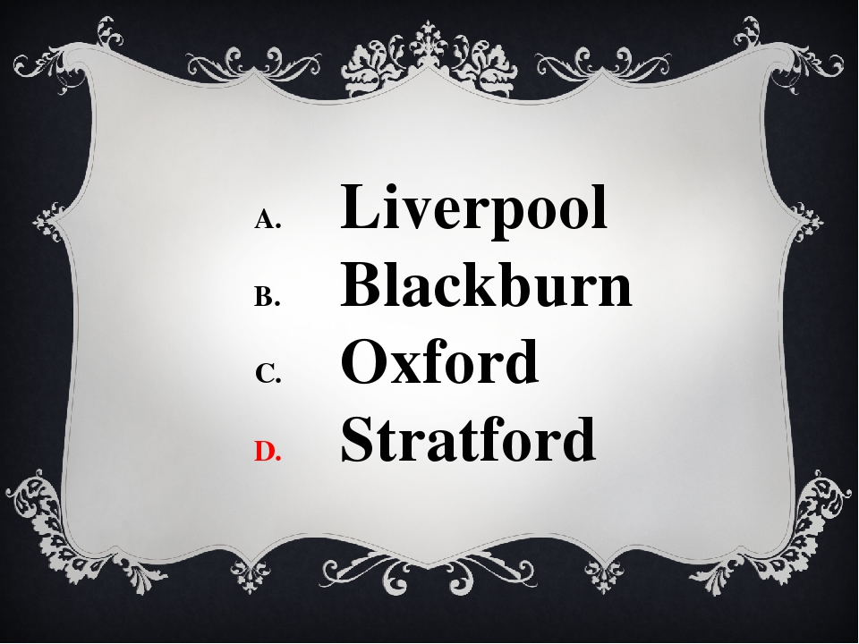 Liverpool Blackburn Oxford Stratford