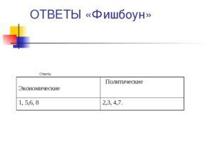 ОТВЕТЫ «Фишбоун» Ответы Экономические Политические 1, 5,6, 82,3, 4,7.