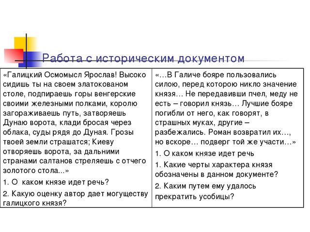 Работа с историческим документом «Галицкий Осмомысл Ярослав! Высоко сидишь т...