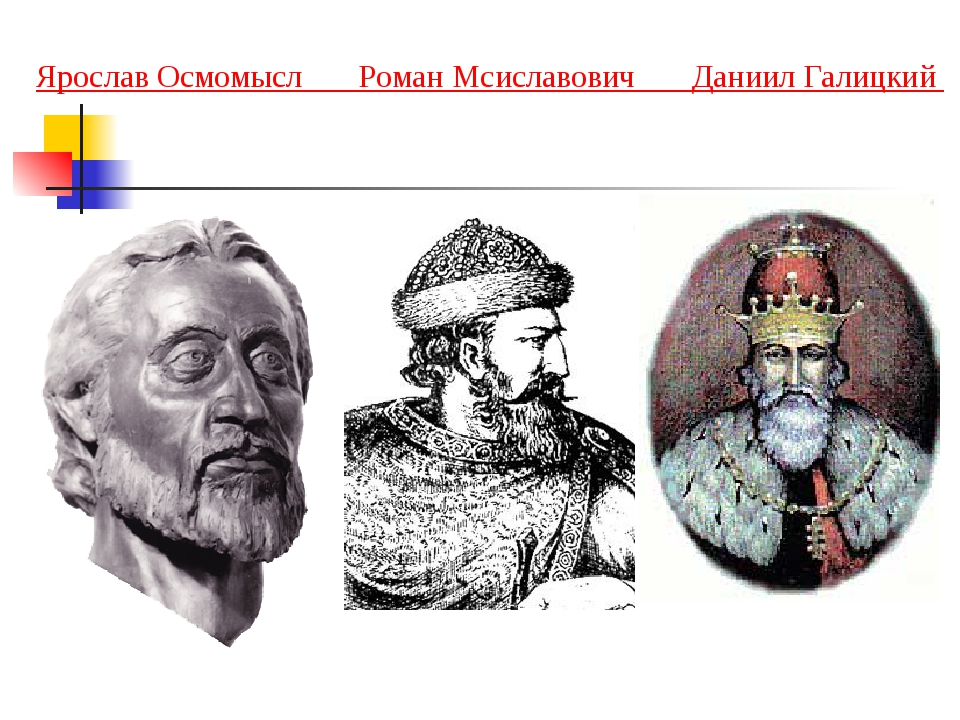 Ярослав Осмомысл Роман Мсиславович Даниил Галицкий