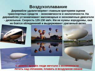 Воздухоплавание Дирижабли удовлетворяют главным критериям оценки транспортных